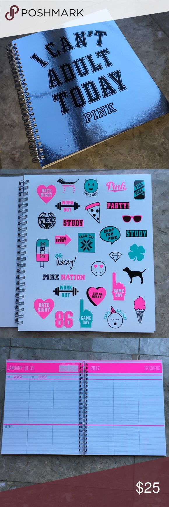 "New vs pink planner/ agenda Brand new vs pink agenda/ planner. ""I can't adult today"" August 2016- July 2017. Comes with 2 sheets of stickers. Price is firm No trades! PINK Victoria's Secret Other"