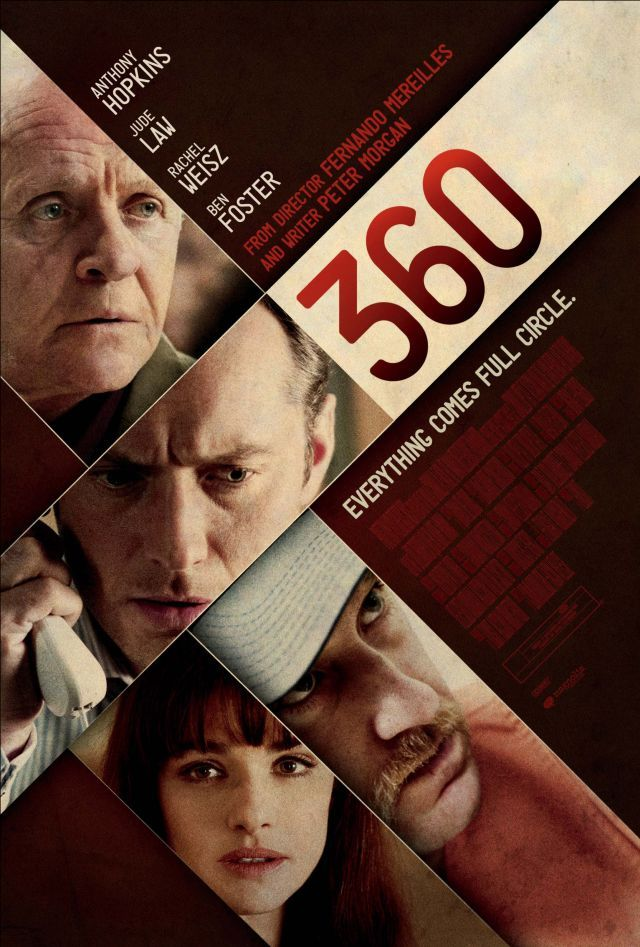 """360 - """"A dramatic thriller that weaves together the stories of an array of people from disparate social backgrounds through their intersecting relationships."""" I'm kind of ambivalent about this film. It was a well done film, I can understand that. But it didn't say anything to me. And everyone in it was sad and miserable and continued to be so."""