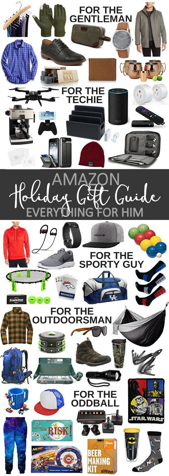 Christmas Gift Guide For Him - All From Amazon! Holiday present ideas for all the men in your life, whether they're the gentleman, the techie, the sporty guy, the outdoorsman, or the oddball.