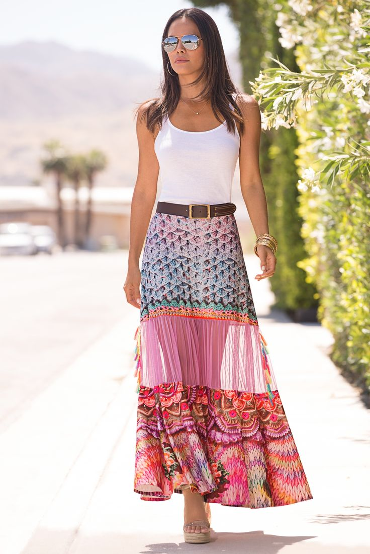 Boho Style | Women's Colorful Printed Tassel Maxi Skirt by Boston Proper.