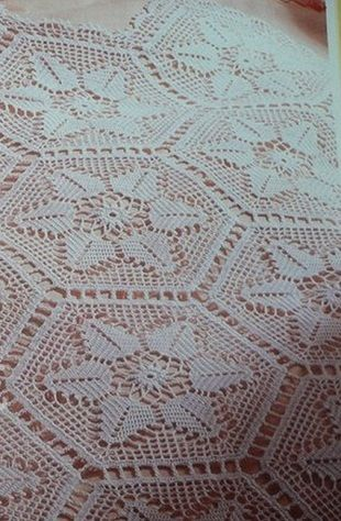 Crochet bedspread -- see pattern for motif