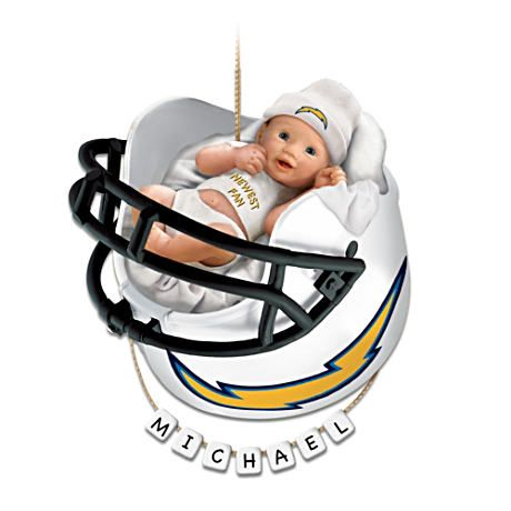 Personalized Quot Chargers Fan Quot Baby S 1st Christmas Ornament
