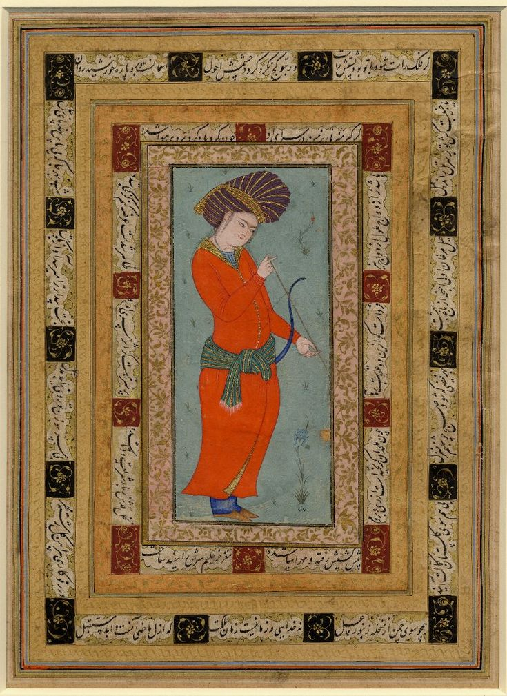 Single-page painting and calligraphy, respectively, on two sides of a detached album folio. A side: a youth inspecting an arrow. Portrait of a standing youth holding a bow and arrow. Minimal foliage and background. Text appearing within double border contains verses of Persian poetry. B side: Calligraphy.Ink, opaque watercolour and gold on paper. Less Producer nameAscribed to: Riza-yi 'Abbasi (false signature of) biography School/styleIsfahan School Culture/periodSafavid dynasty term details