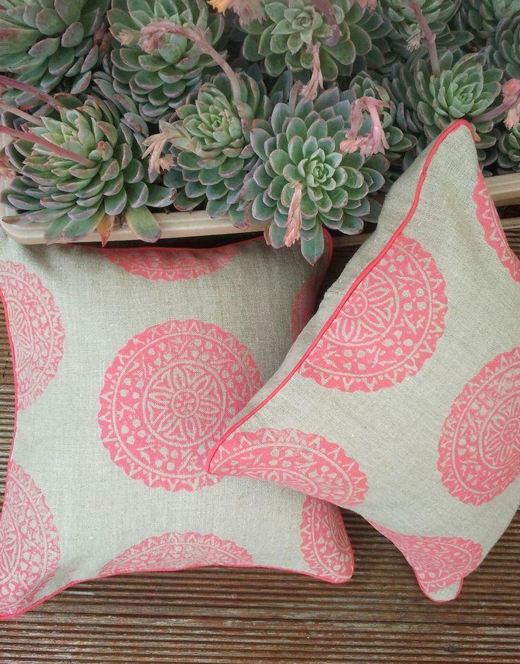 My hand block printed medallion wood block cushion, handblock printed by me in my studio & handmade in Melbourne.