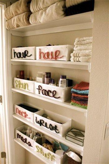 bathroom storage ideas: Organizations Bathroom, Bathroomcloset, Organizations Ideas, Bathroom Organizations, Cute Ideas, Bathroom Storage, Bathroom Closet, Closet Organizations, Linens Closet