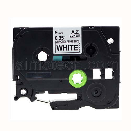 """Brother TZe-S221 9mm (0.375"""") Black on White Strong Adhesive Compatible Label Tape"""