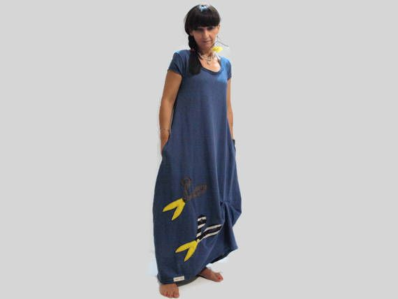 Blue cotton long dress / Women blue loose dress / long dress