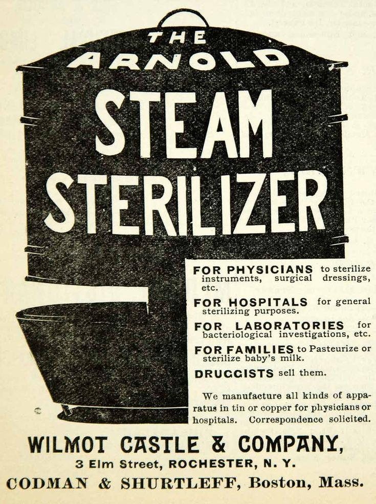 1894 Ad Arnold Steam Sterilizer Wilmot Castle 3 Elm St Rochester NY Hospital Pot #medicalquackery