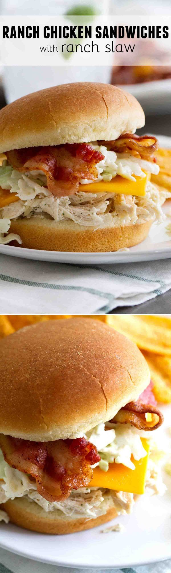 Filled with lots of ranch flavor, these Ranch Chicken Sandwiches with Ranch Slaw make dinner or lunchtime easy and crave-able!