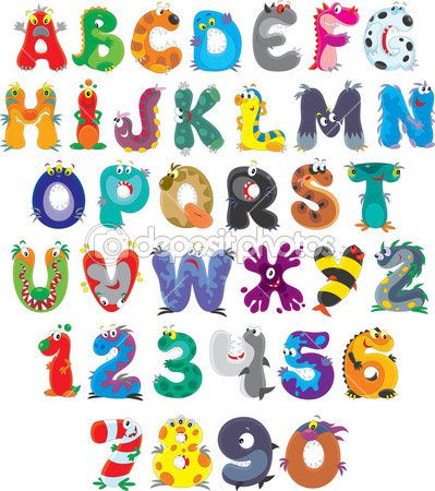 English alphabet with funny monsters — Stock Illustration #30852555