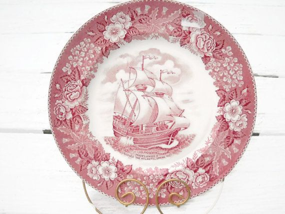 Mayflower II Red Staffordshire Transferware Plate by Hometreasury