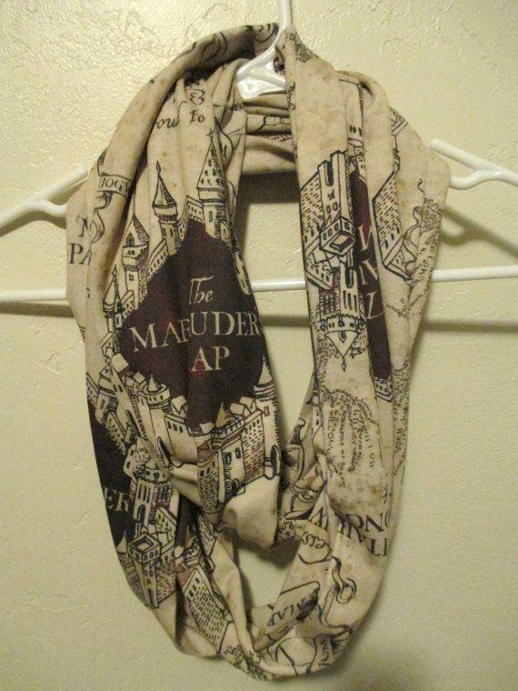 Harry Potter Marauder's Map Scarf...Infinity Scarf...Hogwarts...Harry Potter gift