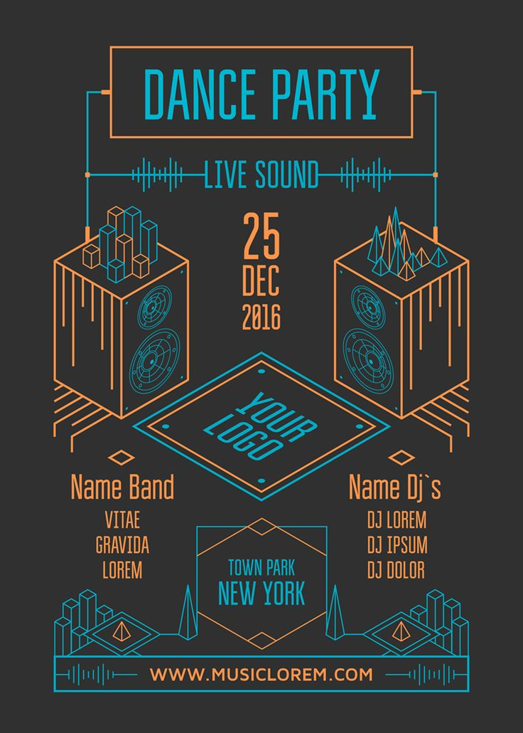 Dance party poster. Isometric line illustration.