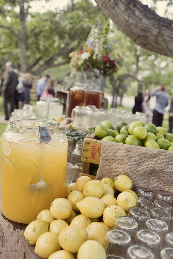decorate drink stations with lemons and limes in crates lined with burlap!! CUTE could use apples in fall w/cider, etc