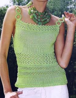 Patrones de Tejido Gratis - Blusa verde hierba