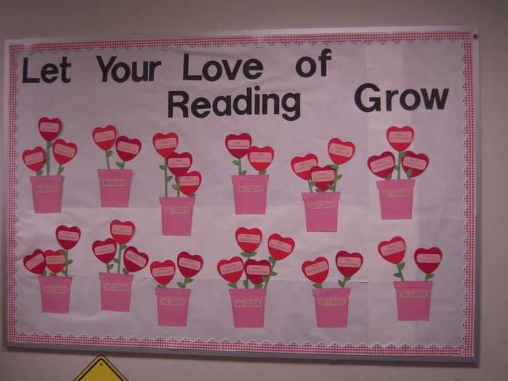 Valentines Day bulletin board for the library.
