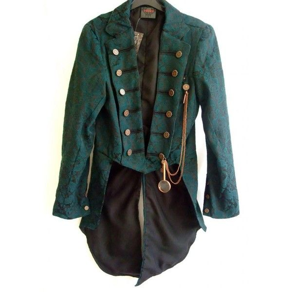 """GMCJ-37 Teal brocade man's """"steampunk"""" gothic jacket ❤ liked on Polyvore featuring outerwear, jackets, coats, tops, teal jacket, hippie jacket, steam punk jacket, steampunk jacket and goth jacket"""
