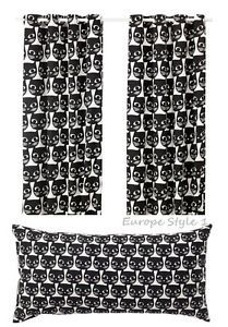 NEW IKEA MATTRAM CURTAINS, 1 PAIR, OR PILLOW CUSHION BLACK WHITE CAT