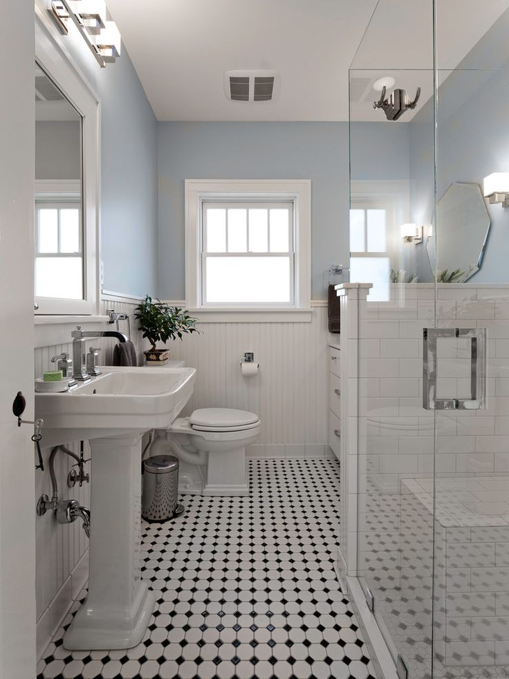 1000 ideas about black white bathrooms on pinterest for Blue and black bathroom ideas