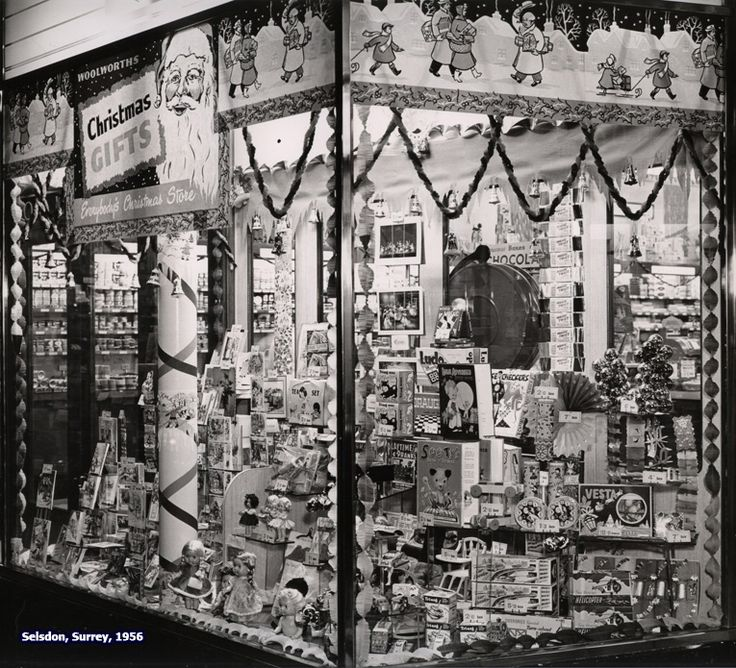 Elaborate displays of toys in the window of Woolworth's Selsdon at Christmas, 1956.