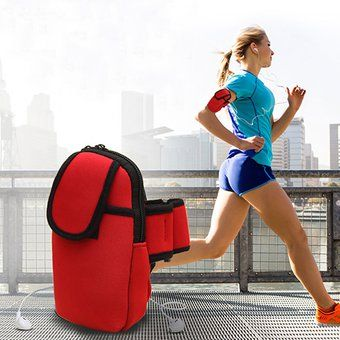 Protección Deportiva Adjustable brazo móvil brazo de la bolsa de muñeca de la maleta de ejecución de deporte brazalete al aire libre-rojo