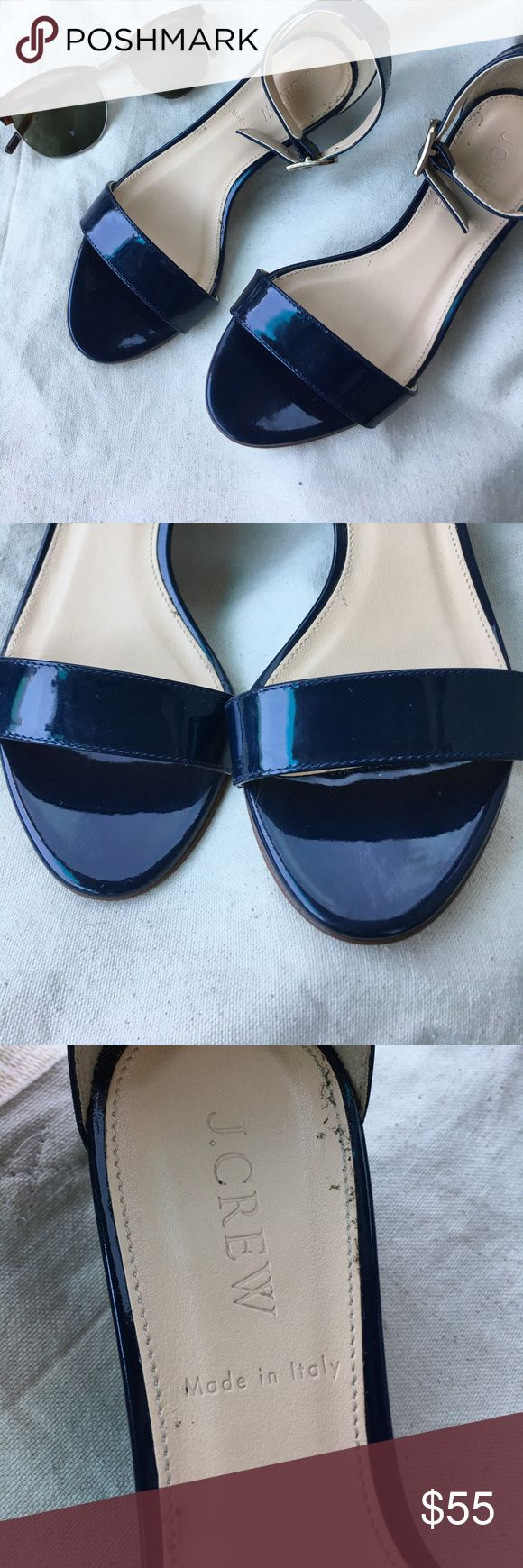 """J. Crew Lillian Patent Leather Navy Wedge Sandal Super cute preloved """"Lillian"""" low wedge sandal. Great condition with some wear to bottom soles and some wear inside footbed. Beautiful navy leather with silver buckles. J. Crew Shoes Wedges"""