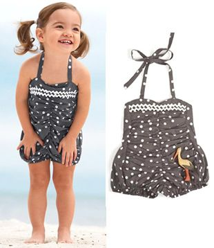 Vintage style bathing suit for little girl.  I love this.  So nice for kids to not be in skimpy suits!