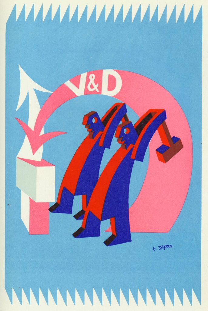 Illustration by Fortunato Depero for Veni. VD. Vici.