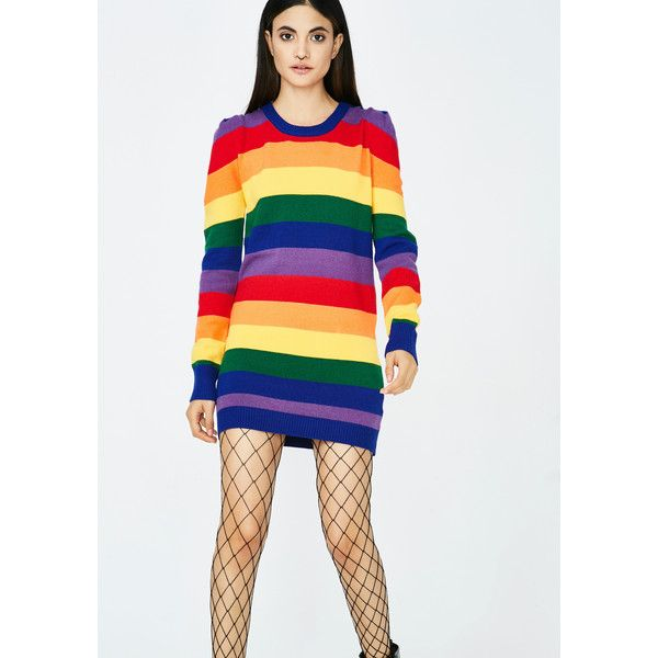 Rainbow Sweater Dress ($28) ❤ liked on Polyvore featuring dresses, mini dress, gold dress, white long-sleeve dresses, white dress and long-sleeve mini dresses