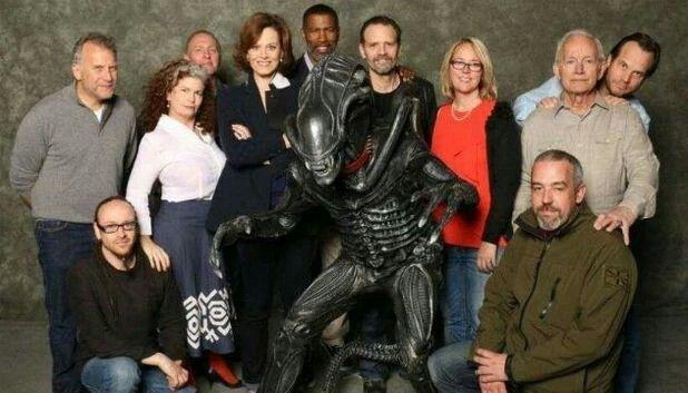 Sigourni Weaver & Lance Hendrickson with Cast & Crew.