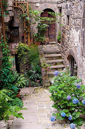 An old street in  Bolsena, Italy, a town in northern Lazio on the eastern shore of Lake Bolsena.