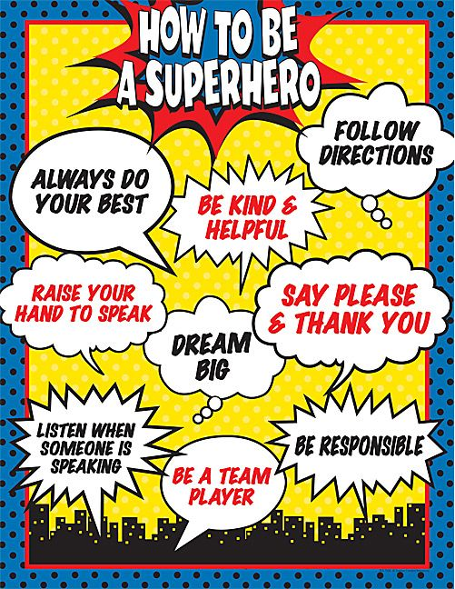 How to Be a Superhero Chart -- maybe do a variation of this for a back to school bulletin board where students come up with what we fill in the bubbles for expectations...