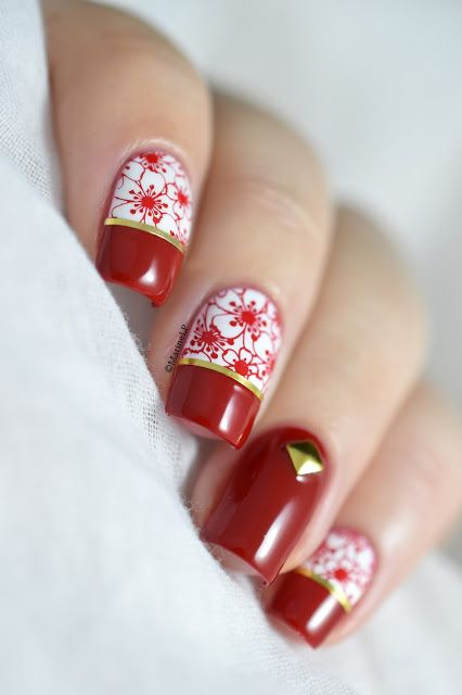 Nailstorming - Chinese New Year nails tutorial [Bundle Monster Occasions Collection   VIDEO] - Cherry blossoms nail art - BM-S229