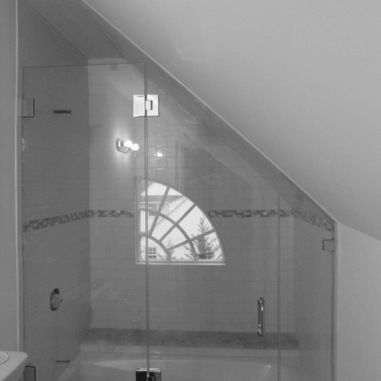 Shower/Bath with slanted ceiling