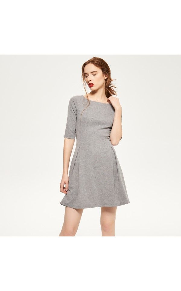 Flared dress, DRESSES, grey, RESERVED