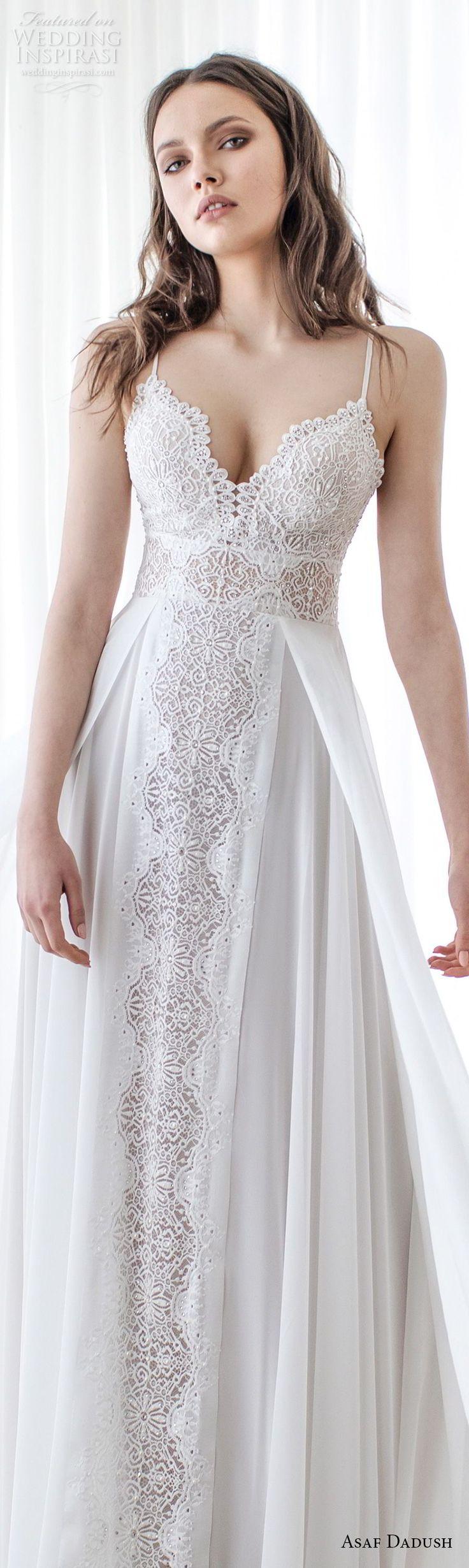 asaf dadush 2017 bridal sleeveless spaghetti strap sweetheart neckline heavily embellished bodice elegant romantic soft a  line wedding dress sweep train (07) lv