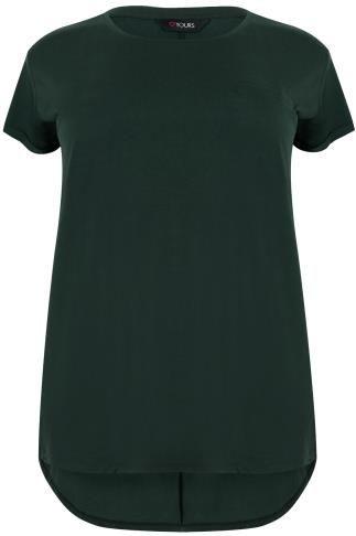 Dark Green Pocket Detail T-Shirt With Dipped Hem