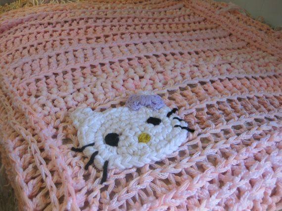 Hello Kitty Dishcloth Knitting Pattern : Hello Kitty pink crochet blanket pink by StarlingNightCrochet DIY- Crochet ...