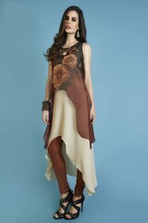 Show details for Gripping brown & cream two layer kurti