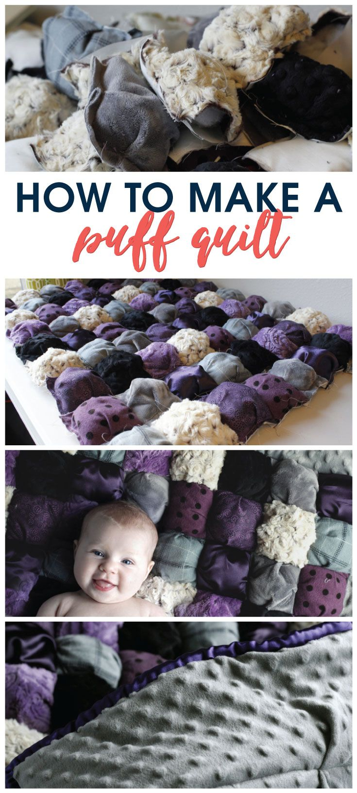 Make a puff quilt with this simple tutorial. Also known as a biscuit quilt, this easy quilt is perfect for even a beginner to make and so cute! Makes a great baby shower gift or birthday present for a new baby.