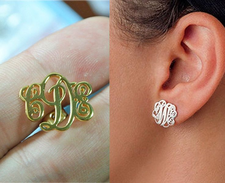 Sterling Silver Monogram Stud Earrings,Initial Stud Earrings,Personalized Monogram Earrings,Monogrammed Gifts,Name Stud Earrings by MonogramForYou2014 on Etsy https://www.etsy.com/listing/194697631/sterling-silver-monogram-stud