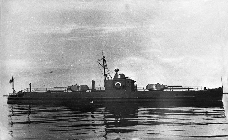 Soviet armored boat of 1124 project with two T-34 turrets and a flak turret