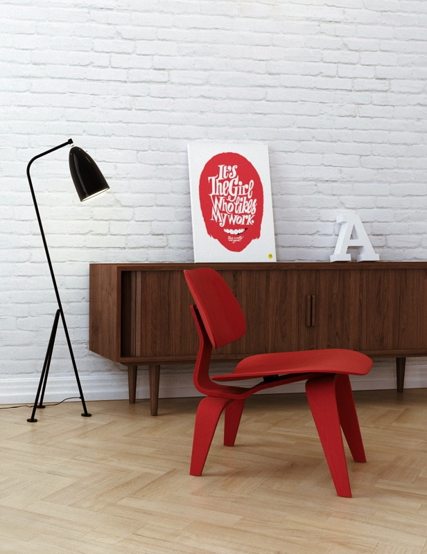 Via Evermotion | Midcentury Modern NYC Loft | Red Eames LCW (http://www.cimmermann.co.uk/product/lcw/) Gubi Grasshopper Light (http://www.cimmermann.co.uk/product/gubi_grasshopper/)
