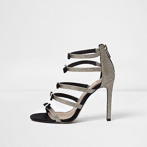 Goudkleurige sandalen met meerdere bandjes en strik - sandalen - schoenen / laarzen - dames