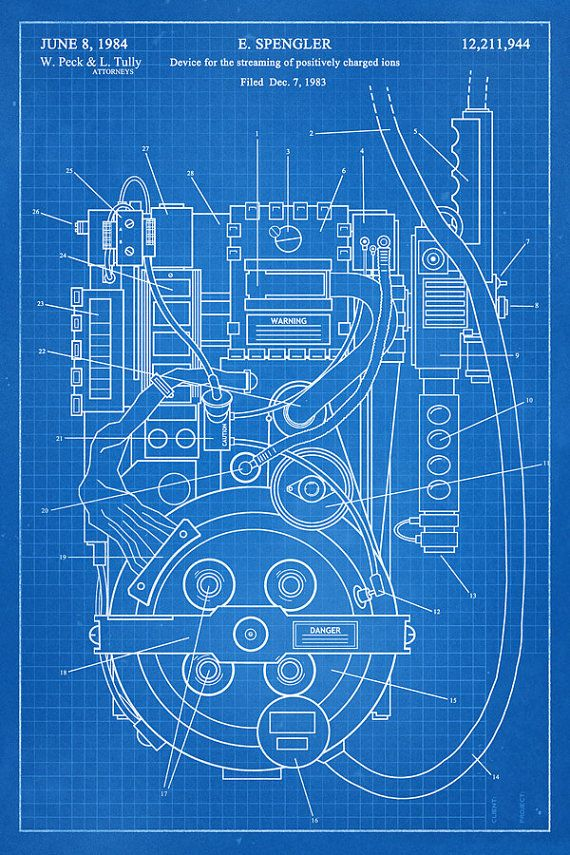 GHOSTBUSTERS - Proton Pack - Fantasy Art Patent - Patent Print Poster Wall Decor…