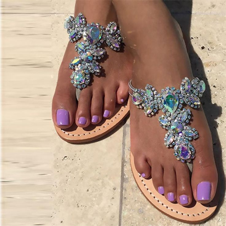 Rhinestone Flat Bottom Toe Beach Sandals