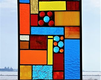 """Cowboy Serenade Stained  Glass Sun Catcher Panel, Southwestern Inspired Colored Window Hanging  in a 12 7/8 X 7 3/4"""", Turquoise, Red, Orange"""