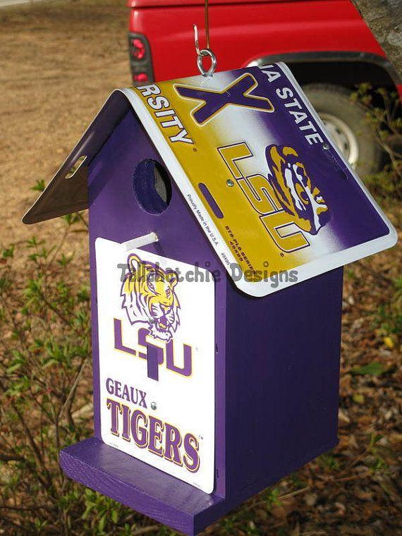 #lsu#birdhouse#LSU birdhouse LSU Tigers birdhouse LSU by TallahatchieDesigns