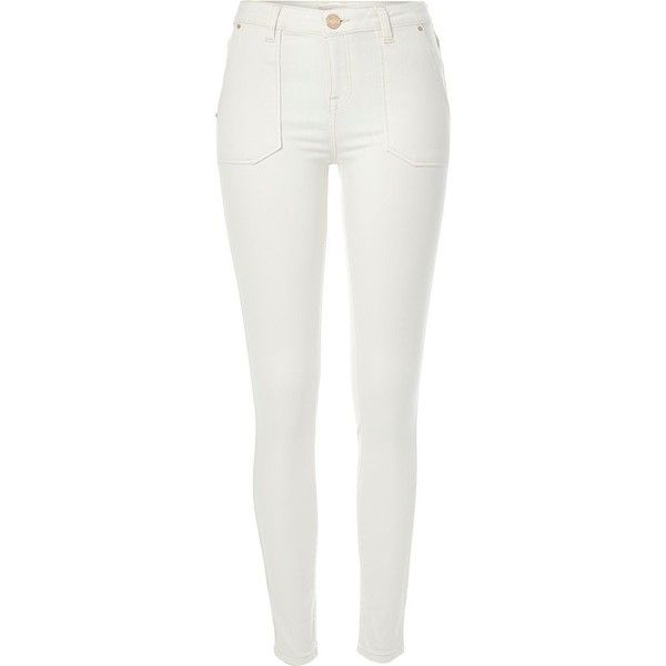 River Island White Amelie superskinny patch pocket jeans ($31) ❤ liked on Polyvore featuring jeans, pants, bottoms, trousers, sale, stretch denim jeans, tall jeans, zipper jeans, mid rise white jeans and mid-rise jeans