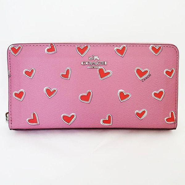 【中古】COACH(コーチ) F53885 バレンタイン 限定モデル ハート プリント レザー 長財布 ピンク レッド/書き風のハートにコーチのロゴもランダムで描かれとってもキュートな可愛いお財布です。/新品同様・極美品・美品の中古ブランドバッグを格安で提供いたします。/¥16,800
